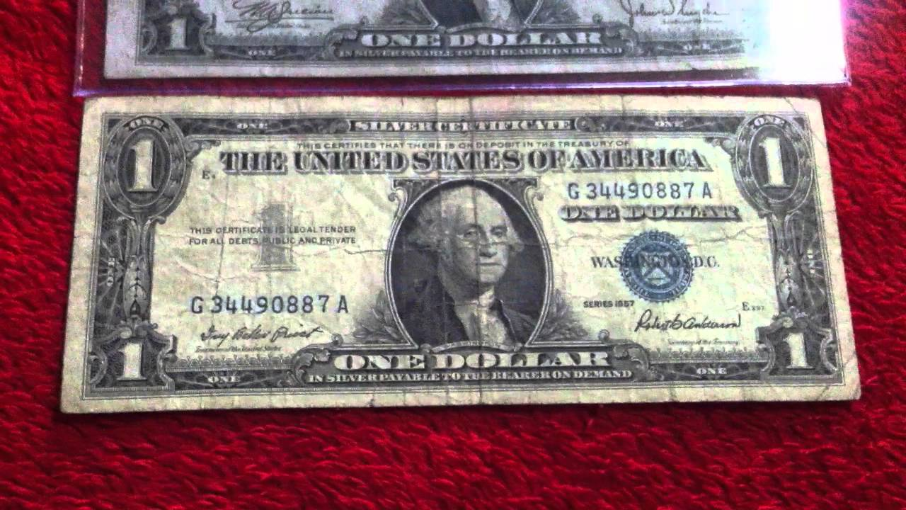 Silver certificate one dollar bill (1957,1935C) - YouTube