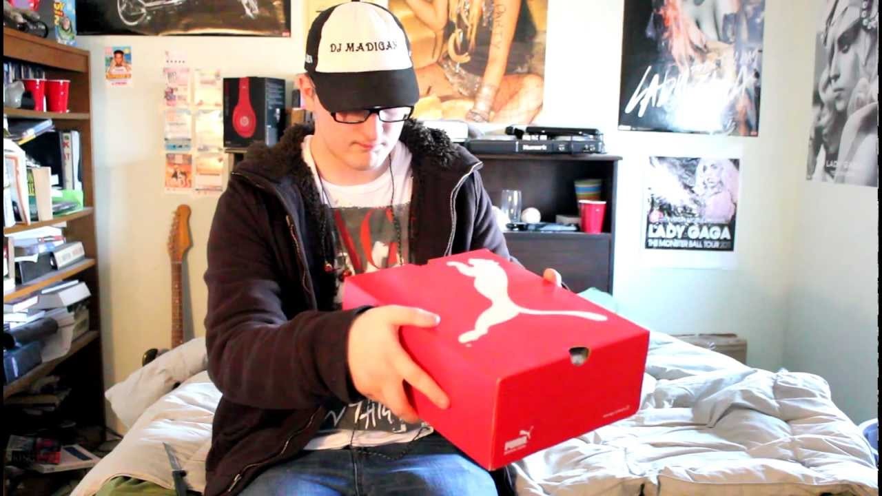 46c8752337de80 Unboxing deadmau5 Puma Red White High Top Shoes - YouTube