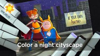 Color a Night Cityscape: Superhero Duos!