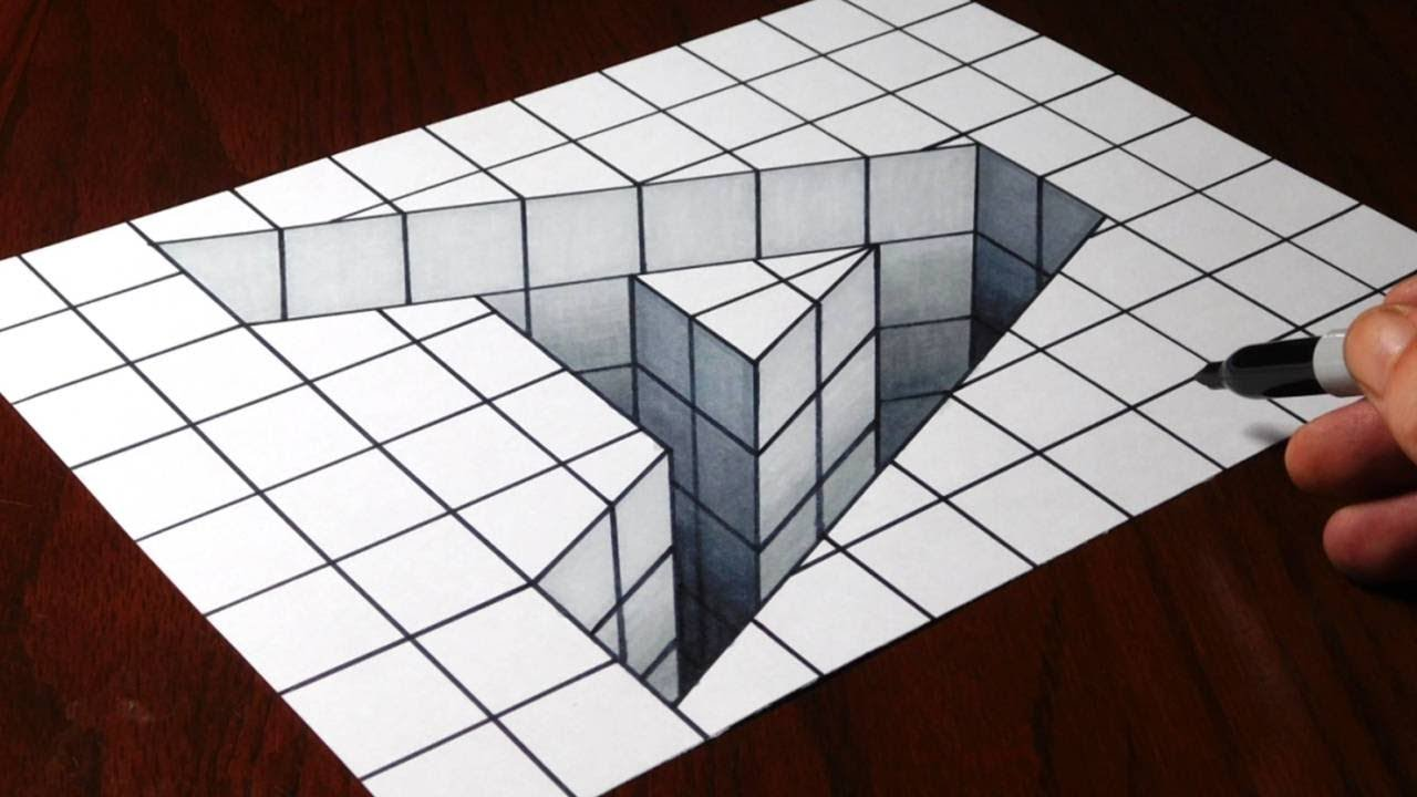 optical illusion draw 3d hole jonathan harris trick illusions play