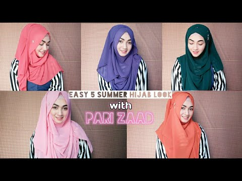 5 Easy Summer Hijab look with Viscous Jorjet Hijab | Pari ZaaD❤ thumbnail
