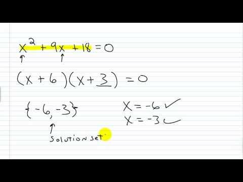 Alge Help Solving Quadratic Equations By Factoring Part