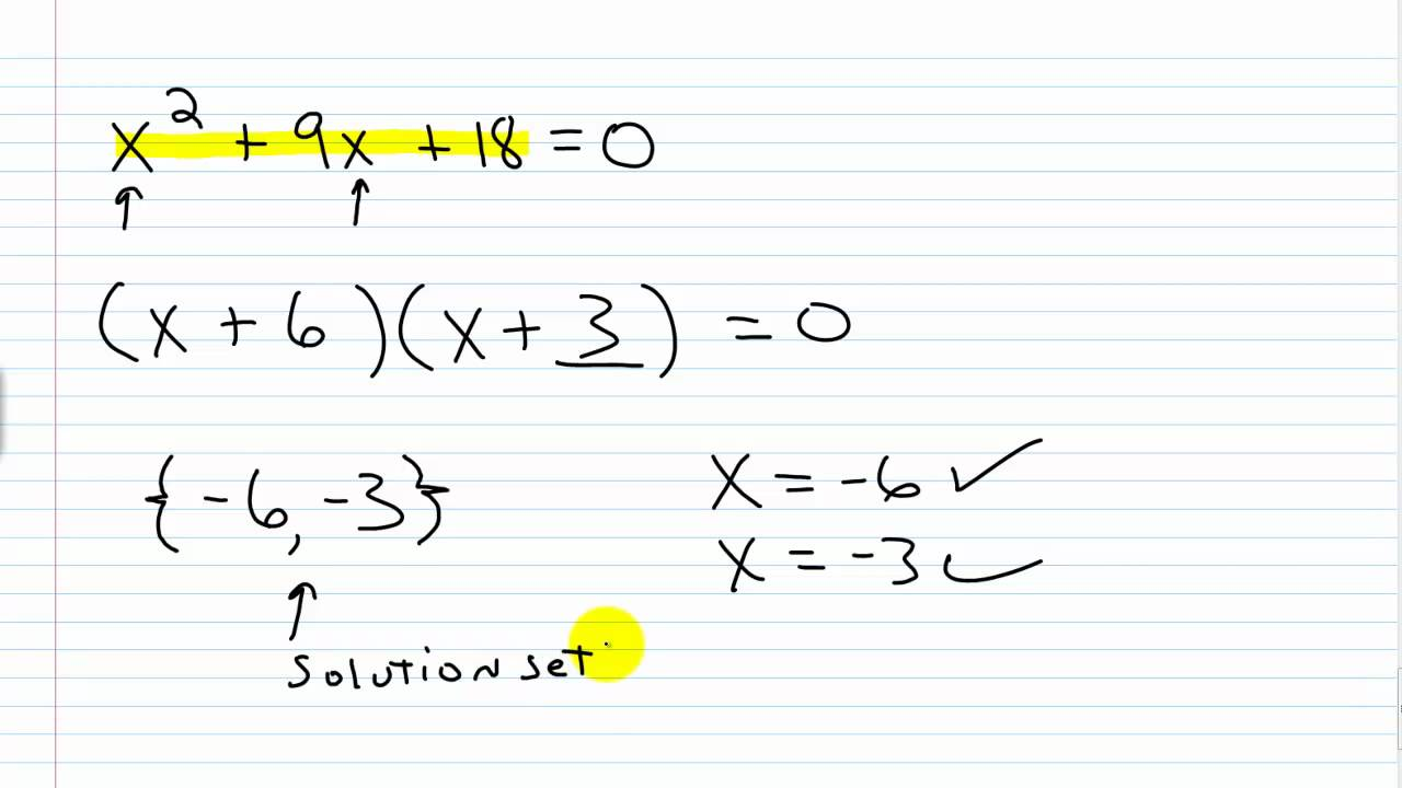 Algebra I Help Solving Quadratic Equations by Factoring Part I – Quadratic Formula Worksheet