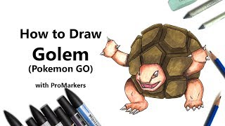How to Draw and Color Golem from Pokemon GO with ProMarkers [Speed Drawing]
