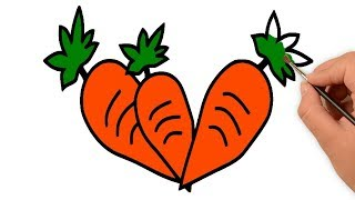 Carrot Drawing & Coloring - Colouring Pages of Vegetables for Kids