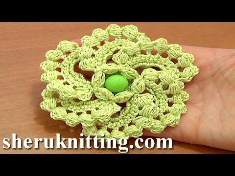 Crochet Spiral 6 Petal Flower Tutorial 60 Part 1 Of 2 Work Puff