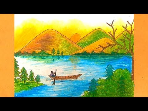 How to draw landscape scenery very easy