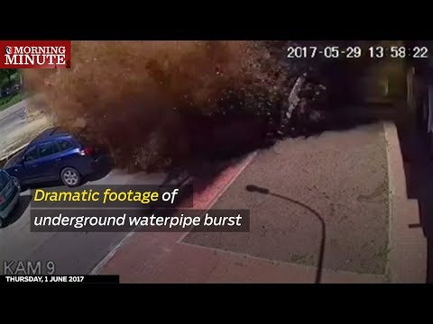 Dramatic footage of underground waterpipe burst