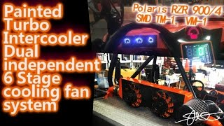 Custom PAINTED Turbo Intercooler Dual 6 Stage cooling fan System SMD TM-1 Polaris RZR 900