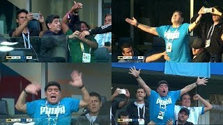 Diego Maradona Epic Dance and Celebrations during Messi Goal 26/06/2018