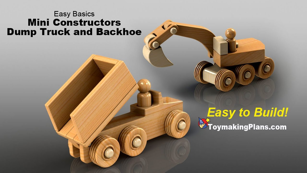Wood Toy Plans - Mini Dump Truck and Backhoe - YouTube
