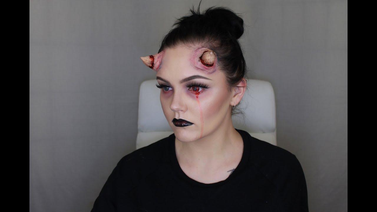 halloween sfx make up tutorial glam horned devildemon emmajvb - Devil Horns For Halloween