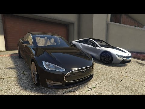 Gta V Tesla Model S Bmw I8 Youtube