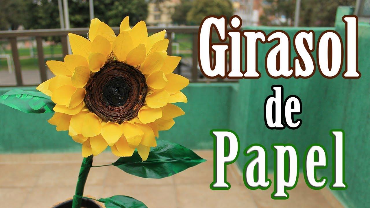 Cuadro de cartón y papel periódico   Como hacer un girasol de papel  periódico 2ª parte   Diy - YouTube
