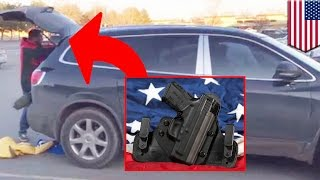 Repeat youtube video Open carry gone wrong: Man fires 6 shots at shoplifter's fleeing getaway car in Montana - TomoNews