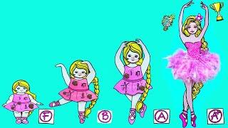 Paper Dolls Dress Up - Fat Ballerina Costumes Dresses Handmade Quiet Book #2 - Barbie Story \u0026 Crafts