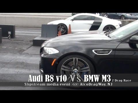 Audi R8 V10 Vs BMW M5 Drag Race