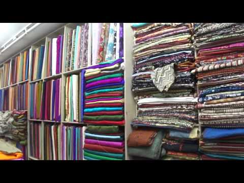 Inside Real cloth & material shop on Market Road, Navsari Gujarat, India; 13th February 2012