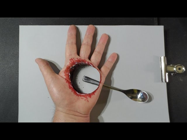 Hole in the Hand - Drawing  Bloody Trick Art - Optical Illusion