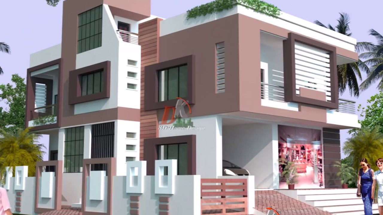 Two story modern house 3d elevations