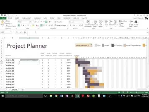 Excel 2013 Using Gantt project planner template - gantt project planner excel template