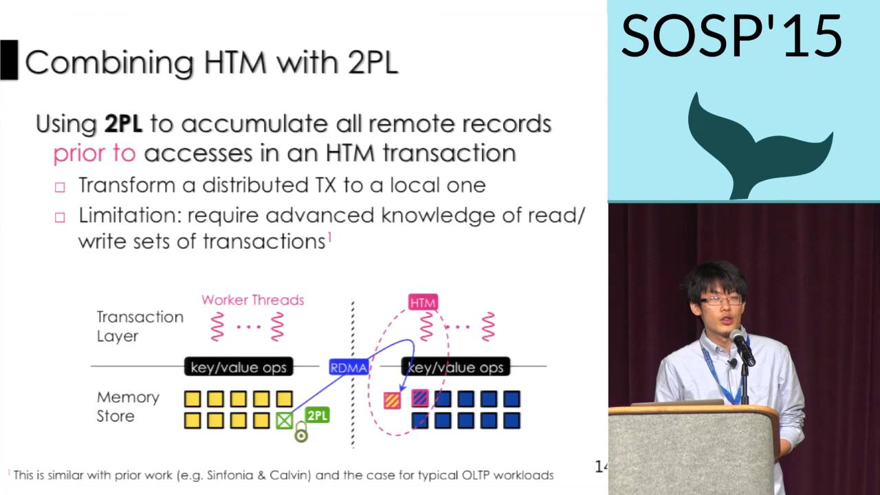 Fast in-memory transaction processing using RDMA and HTM