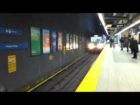 Vancouver Skytrain Arriving - Olympic Village Station