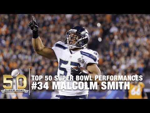 #34: Malcolm Smith Super Bowl XLVIII MVP Highlights | Top 50 Super Bowl Performances