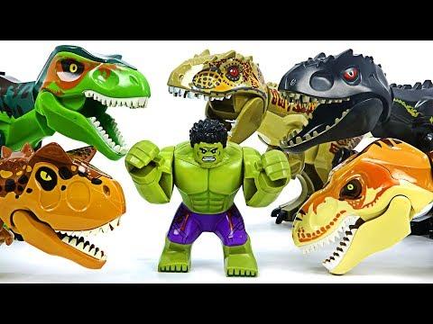 Lego Hulk VS Jurassic World dinosaurs T-Rex army! #DuDuPopTOY