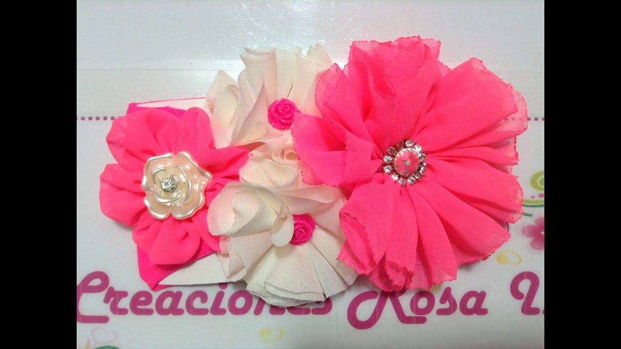 Flores de tela en tiara creaciones rosa isela video no 236 youtube - Flores de telas hechas a mano ...