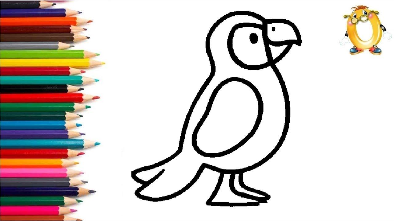 раскраска для детей попугай мультик раскраска учим цвета Ii обучашка тв
