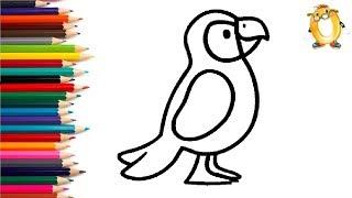 Раскраска для детей ПОПУГАЙ. Мультик - Раскраска. Учим цвета II ОБУЧАШКА ТВ