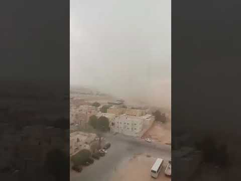 Sand storm in Saudi Arabia/seen from executives hotel KAFD