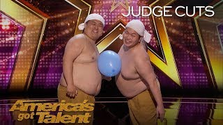 Yumbo Dump Shirtless Duo Creates Hilarious Sounds With Bellies   America&#39s Got Talent 2018