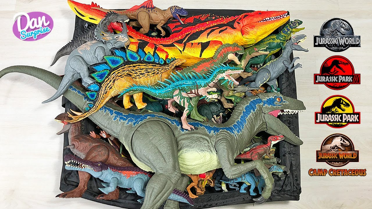 COLOSSAL BOX of 100 Jurassic World Camp Cretaceous Dinosaurs & Prehistoric Animals! Baryonyx T-Rex