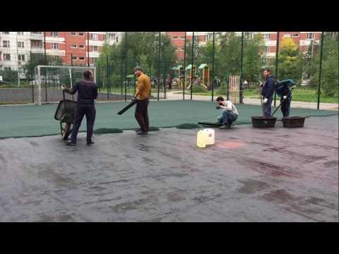 Замена резинового покрытия на спортивной площадке