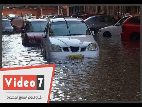 المياه تغرق شارع طرح البحر ببورسعيد  - 16:21-2017 / 10 / 20