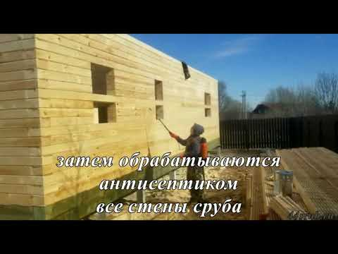 Обработка стен сруба из бруса антисептиком