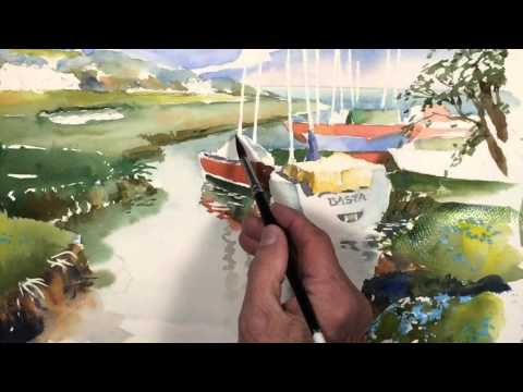 PREVIEW-Painting-Watercolor-Landscape with Sailboats-Part 2