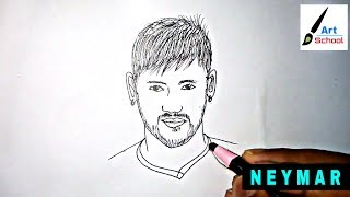 How to draw Neymar Jr step by step easy with pencil