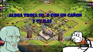 super aldea troll epica con solo un cañon/clash of clans.