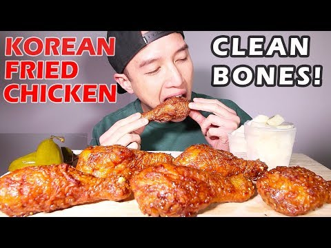🍗 HOW TO CLEAN A CHICKEN BONE • 🐔 KOREAN FRIED CHICKEN  • mukbang • LESS TALKING