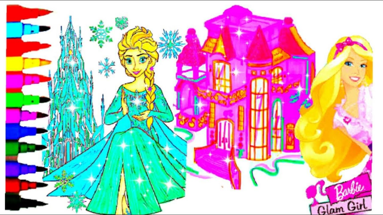 DISNEY FROZEN Vs BARBIE CASTLE Coloring Book Pages Kids Fun Art Learning Videos Balloons Toys