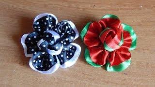Цветы из ткани.Как сделать цветок на резинку.DIY.Flowers.