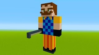 "Minecraft: How To Make Mr. Peterson ""Hello Neighbor Statue Tutorial"""