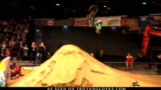 tj ellis bmx double backflip at masters of dirt 2009 by troyan gloves in hd