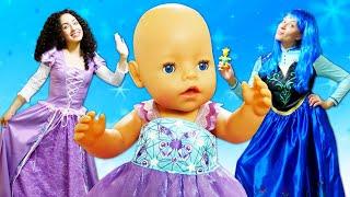 Весёлые игры с Беби Бон - Принцессы Как мамы для куклы! - Видео игры одевалки с Baby Born