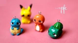 diy clay pokemon squirtle pikachu charmander bulbasaur polymer clay charm tutorial