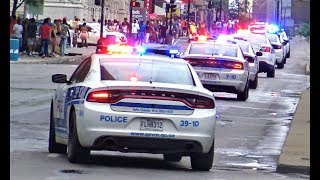 MASSIVE POLICE CONVOY! - Loads of Police cars responding Code 3 with siren in Montreal