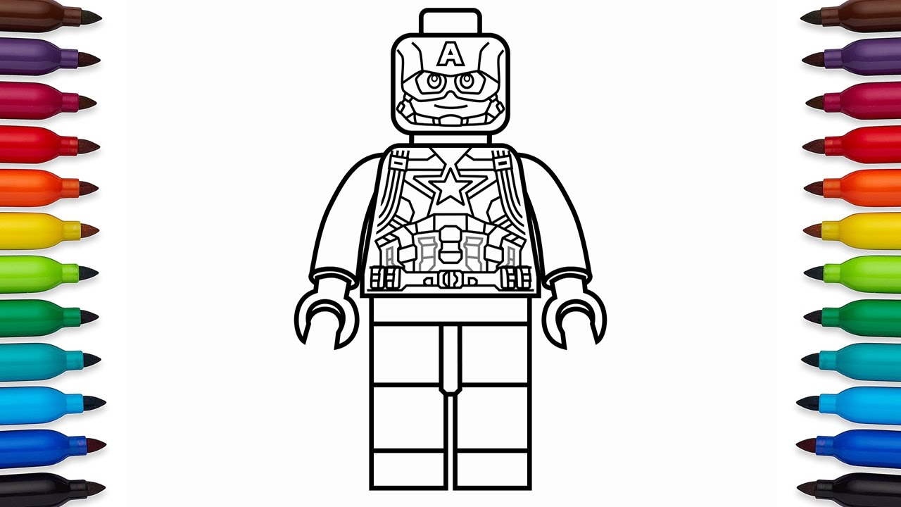 Superhero Thanos Coloring Pages: How To Draw Lego Captain America